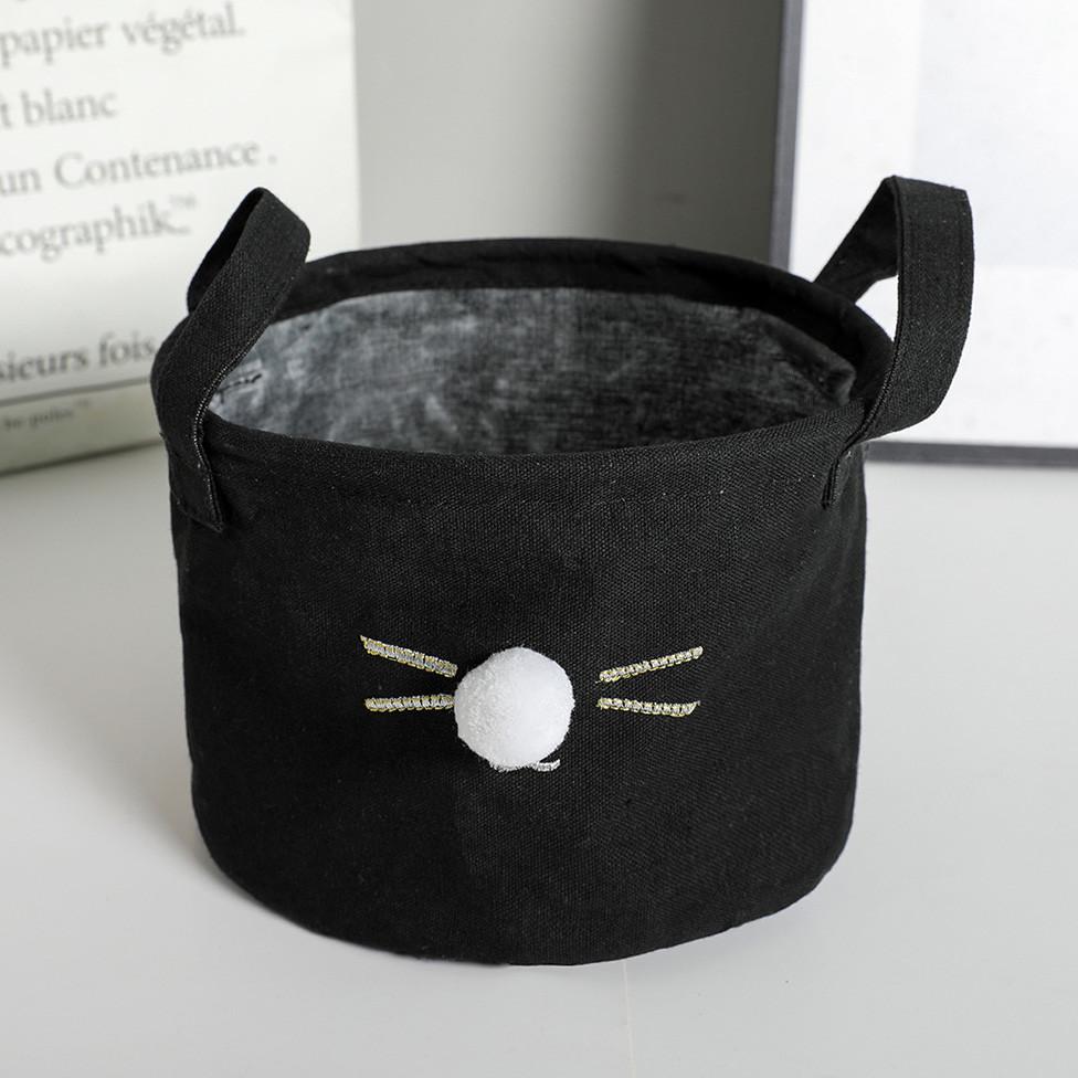 Маленькая корзина с ручками Кошкин нос  (черная)