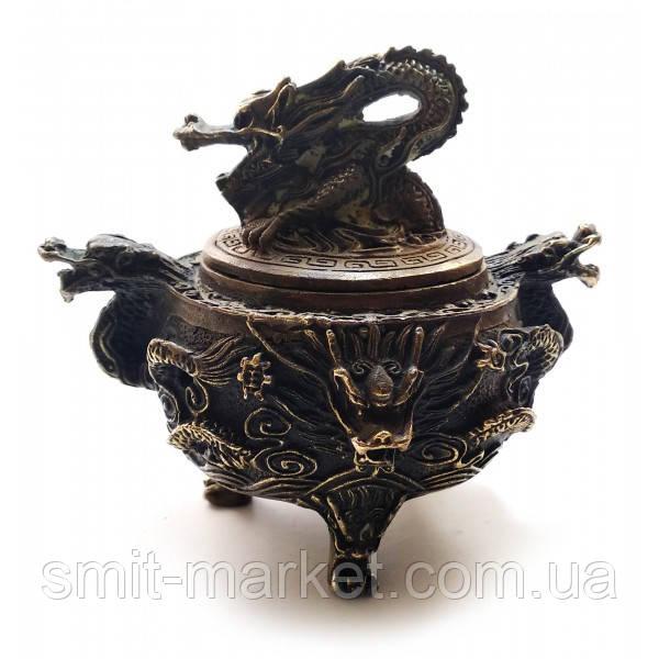 """Курительница бронзовая """"Дракон"""" (13,5х10,5х10,5 см)"""