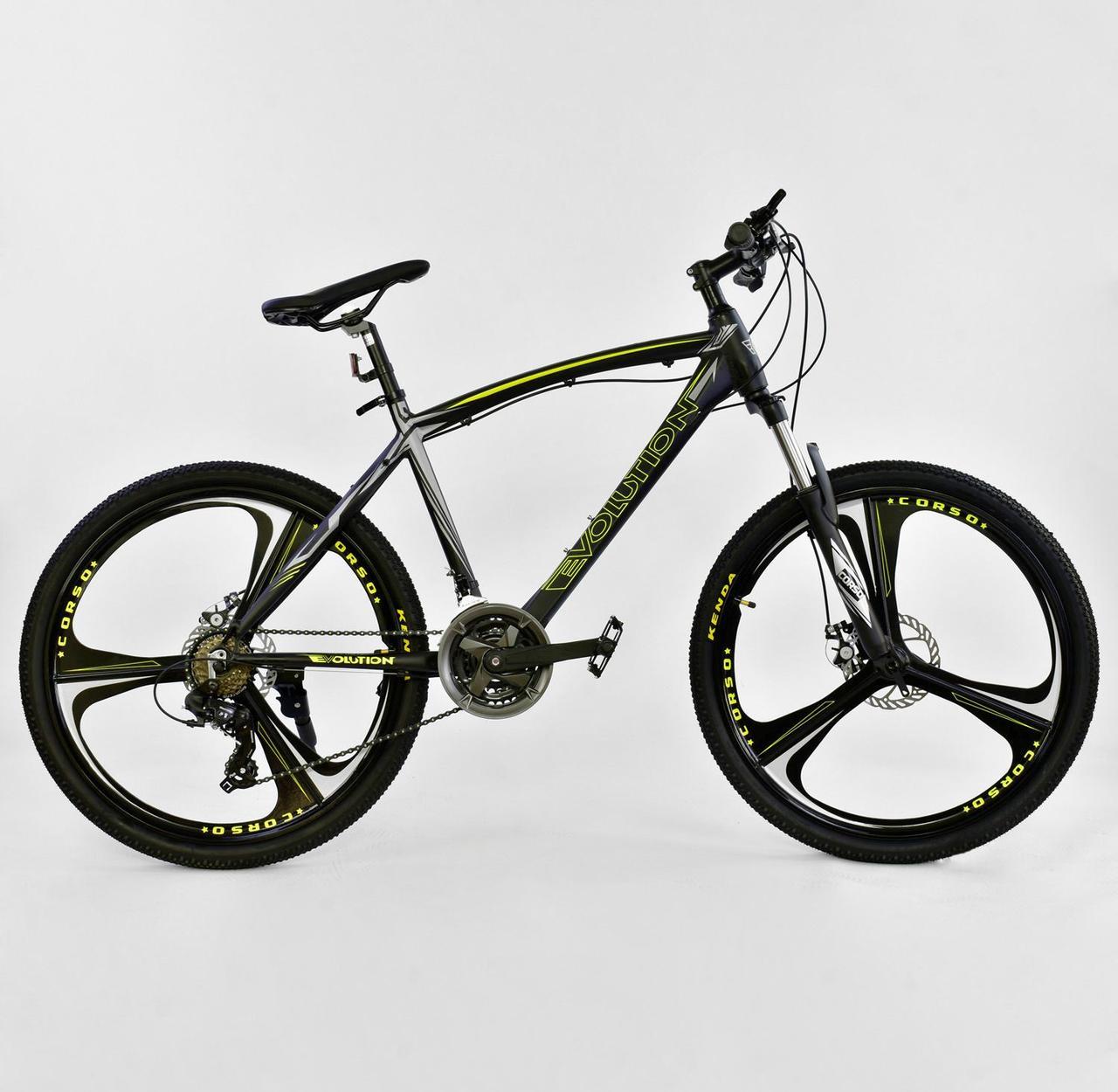 """Велосипед Спортивный CORSO 26""""дюймов JYT 007 - 7277 BLACK-YELLOW EVOLUTION  Алюминий, 24 скорости"""