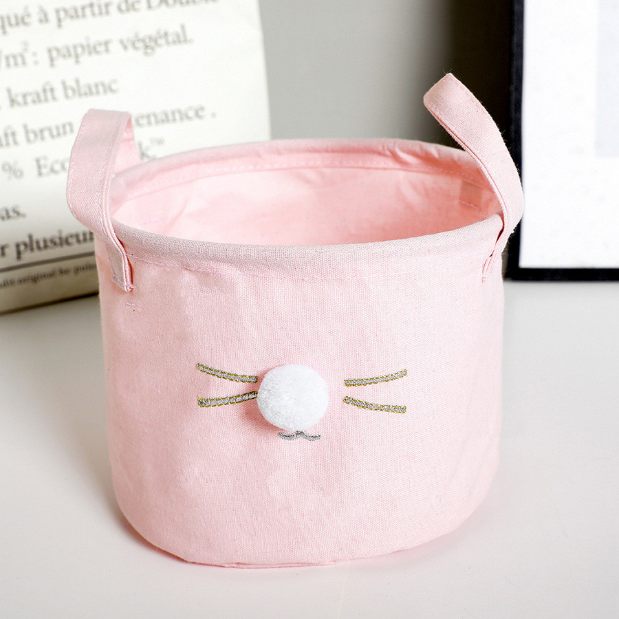 Маленькая корзина с ручками Кошкин нос (розовая)