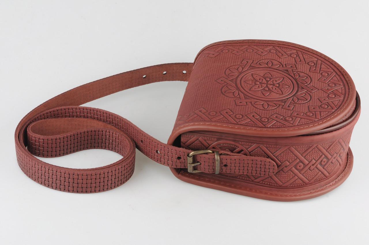 be1e705346f1 Кожаная женская сумка полукруглая, коричневая сумочка, сумка через плечо,  авторская сумка ручной работы