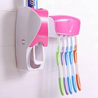 Диспенсер дозатор для зубной пасты и щеток автоматический ZGT SKY РОЗОВЫЙ