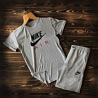 Летний мужской спортивный костюм Nike Air серого цвета, фото 1