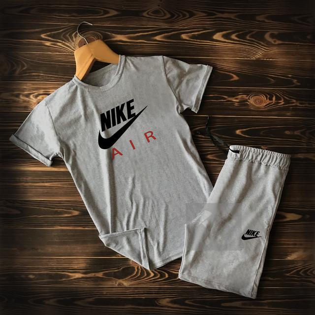 Летний мужской спортивный костюм Nike Air серого цвета