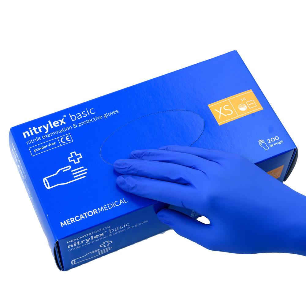 Перчатки нитриловые неопудреные, синие Nitrylex basic , XS. 200 шт.
