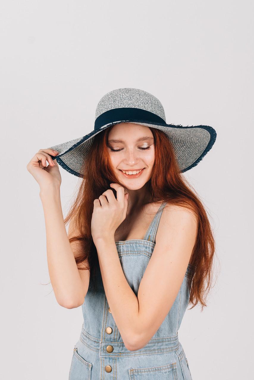 Шляпка широкополая Ангелика синяя