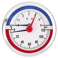 Термоманометр осевой AW F346 (80мм, 0-6 бар, 0-120°С)