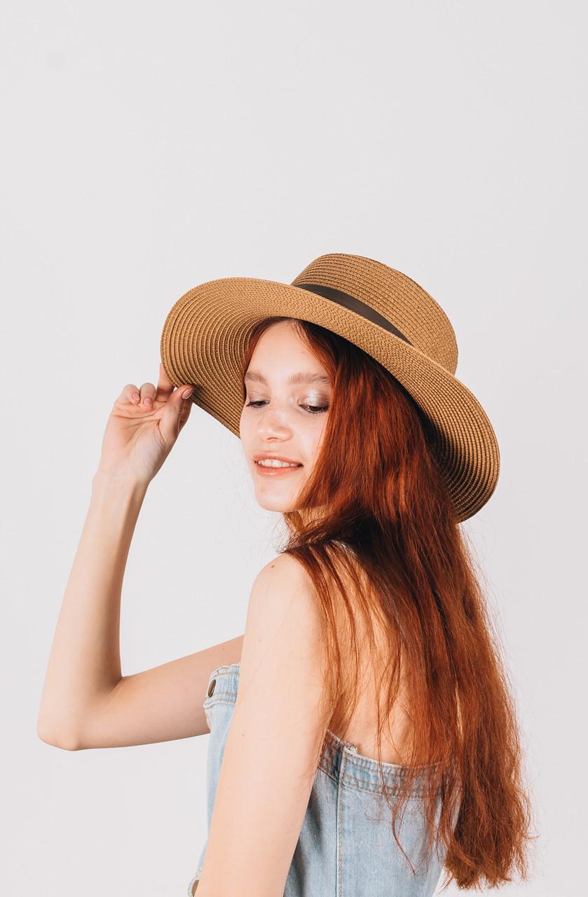 Шляпка федора Мирка капучиновая