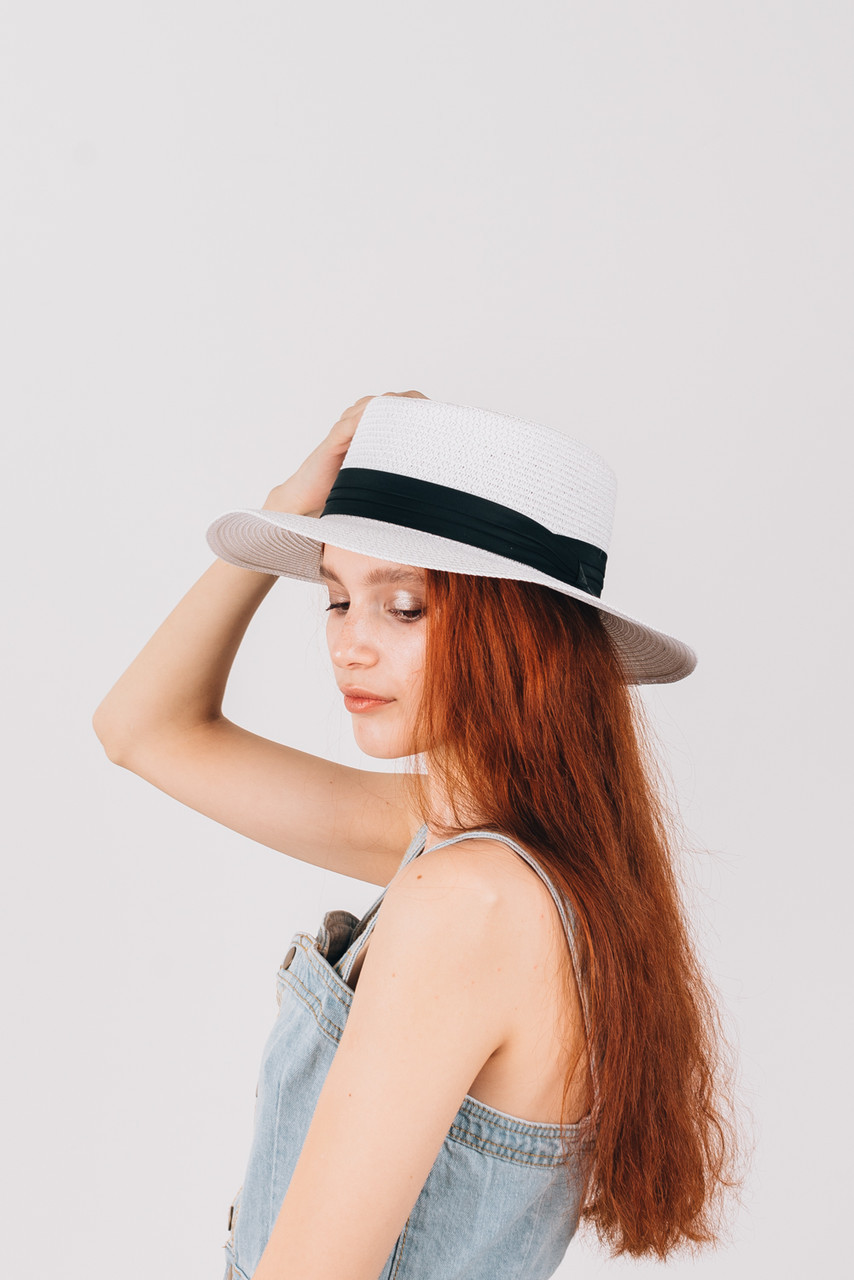 Шляпка федора Мирка белая