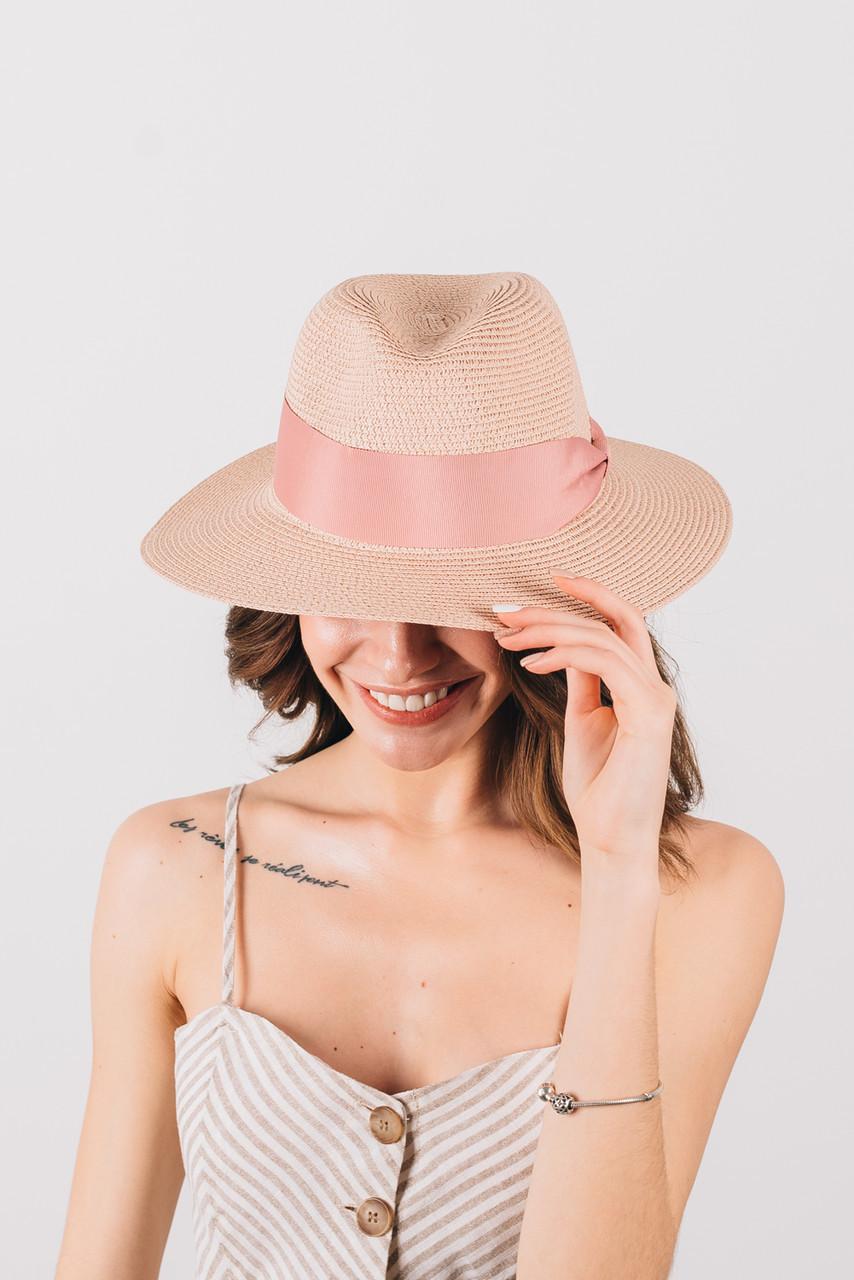 Шляпка федора Адель пудровая