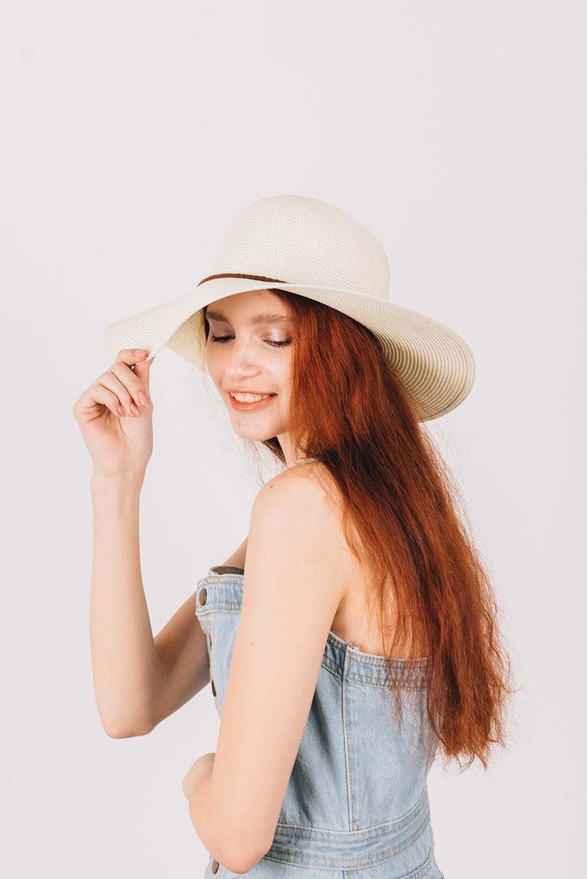Шляпка широкополая Френсис молочная