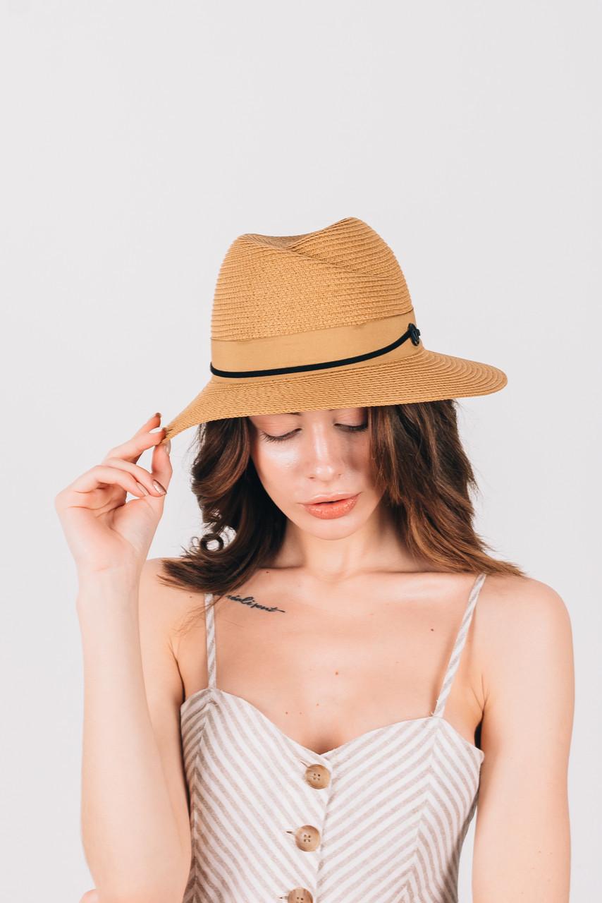 Шляпка федора Жаслин капучиновая
