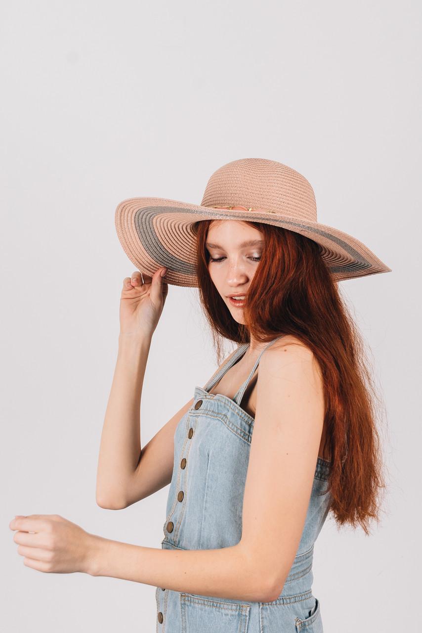 Шляпка широкополая Илиана пудровая