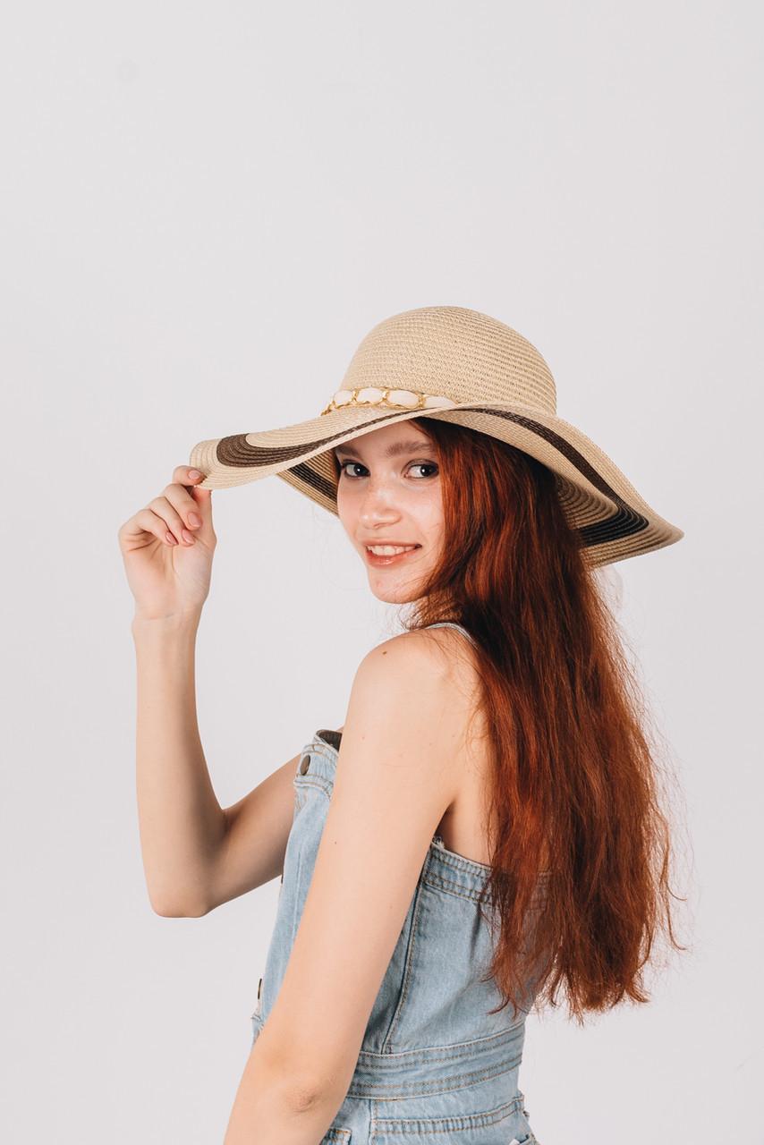 Шляпка широкополая Илиана бежевая