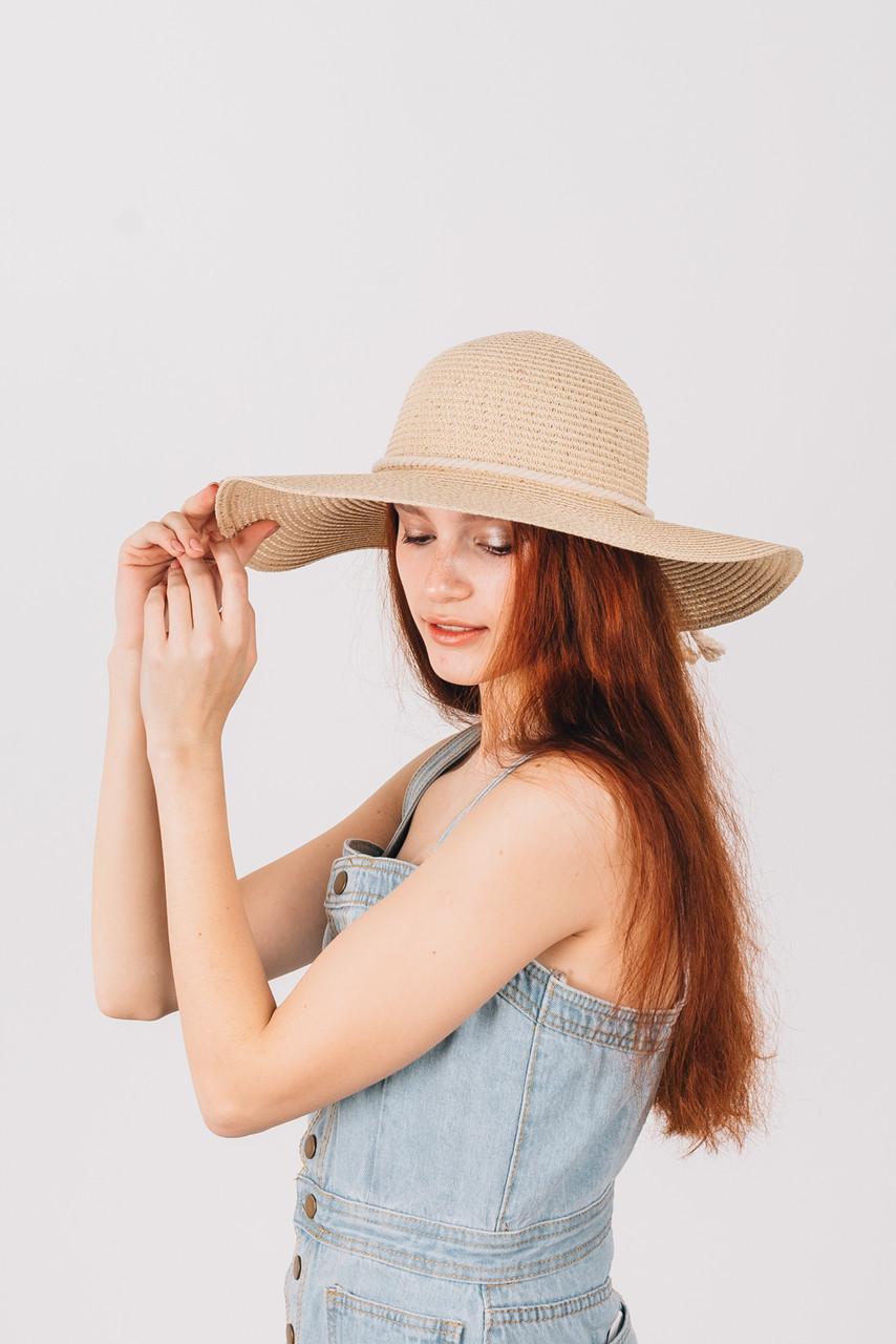 Шляпка широкополая Медея кремовая