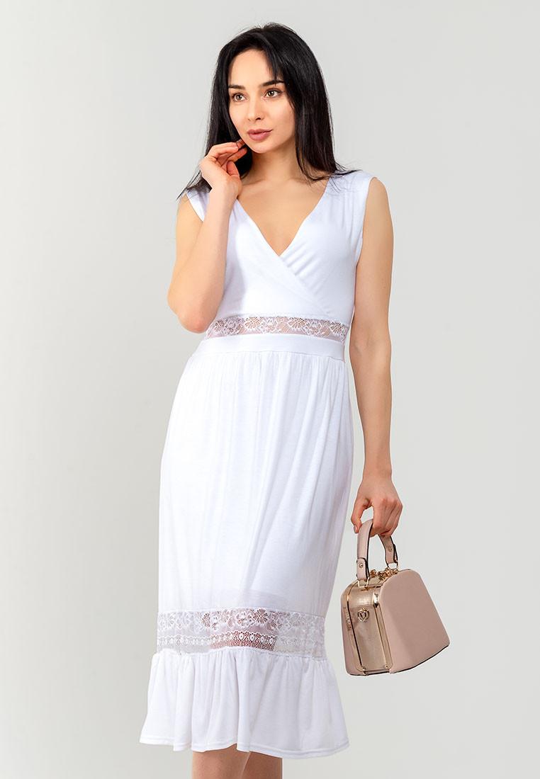 Летнее женское платье с гипюровыми вставками без рукавов 90302, фото 1