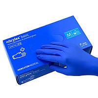 Перчатки нитриловые неопудреные, синие, Nitrylex basic, M, 200 шт.