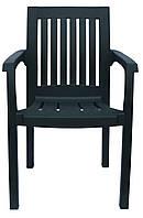 Пластмассовое кресло Базилик для летней площадки темно-зеленый