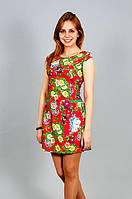 Платье мини красное Цветы р.44-46-48 V190-1