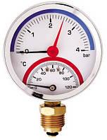 Термоманометр радиальный AW F344 (80мм, 0-4 бар, 0-120°С)