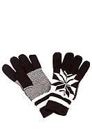 Перчатки с геометрическим узором 254V004-2 (Коричнево-белый)
