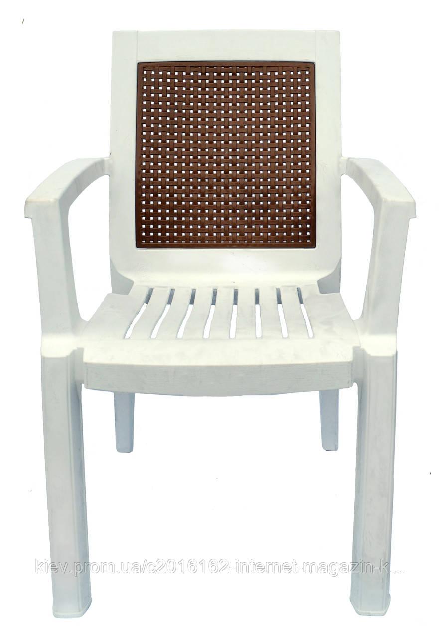 Пластиковое кресло для кофейни Мимоза  белый коричнева вставка