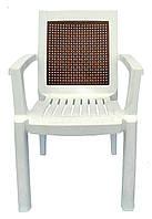 Пластиковое кресло для кофейни Мимоза  белый коричнева вставка, фото 1