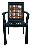 Пластиковое кресло для бара Мимоза  темно-зеленый  бежевая вставка
