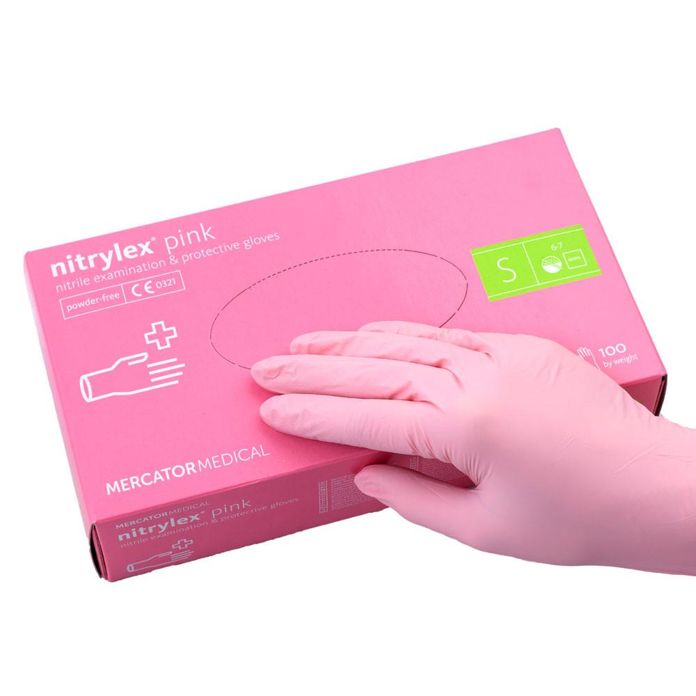 Перчатки нитриловые неопудренные нежно розовые, Nitrylex, S, 100 шт.