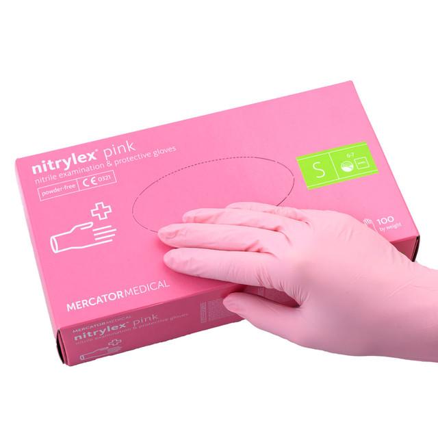 перчатки нитриловые розовые размер S 100 шт