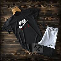 Спортивный костюм шорты и футболка Найк черно-серого цвета