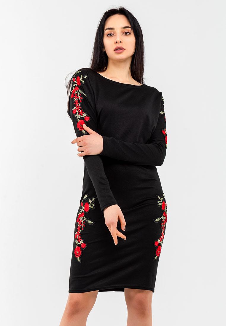 23ba0d251ccaf0d Романтическое женское платье с красными цветами Modniy Oazis черный 90323 - My  Oazis в Харькове