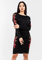 Красивое трикотажное платье с вышивкой Modniy Oazis черный 90323, фото 1