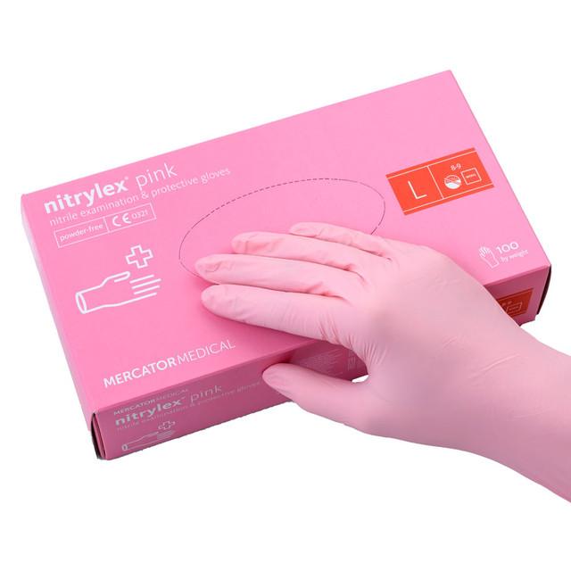 перчатки нитриловые розовые размер L 100 шт