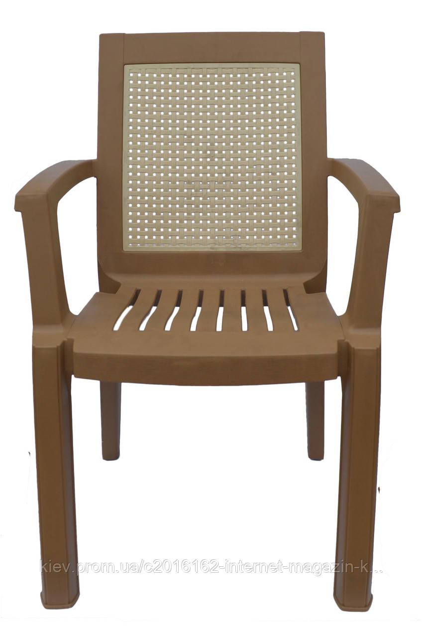 Пластиковое кресло для летника Мимоза  коричневый  бежевая вставка