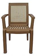 Пластиковое кресло для летника Мимоза  коричневый  бежевая вставка, фото 1