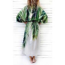 Пляжный халат коттоновый с листьями накидка пляжная длинная белая с растительным узором бохо-кимоно -146-59, фото 3