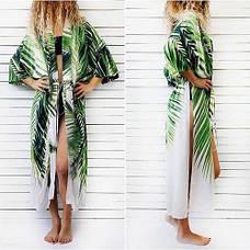 Пляжный халат коттоновый с листьями накидка пляжная длинная белая с растительным узором бохо-кимоно -146-59, фото 2