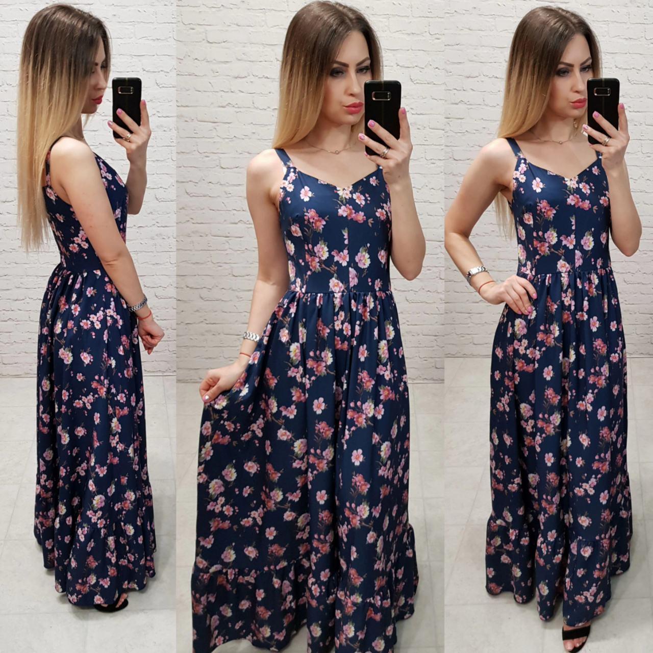 Летнее платье, сарафан арт.162 принт розовые цветы на темно-синем фоне