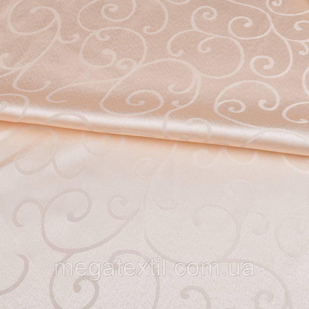 Жаккард скатертный завитки персиковый светлый, ш.320 ( 33114.017 )