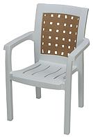 Пластиковое кресло для кафе и бара Хризантема белый коричнева вставка
