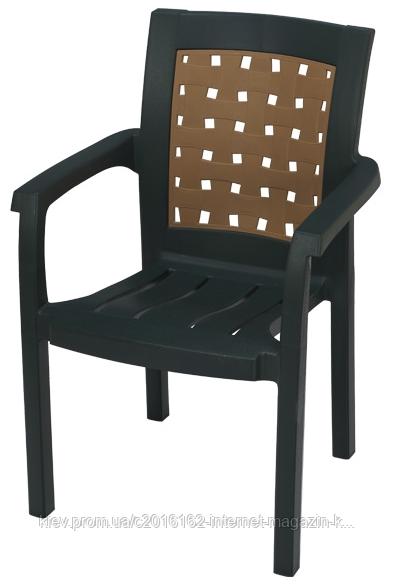 Пластиковое кресло для клуба Хризантема  темно-зеленый  бежевая вставка