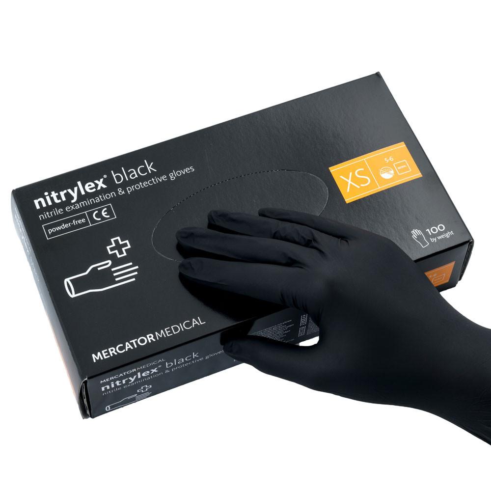 Перчатки нитриловые  XS, Nitrylex Black, черные одноразовые неопудренные 100 шт.