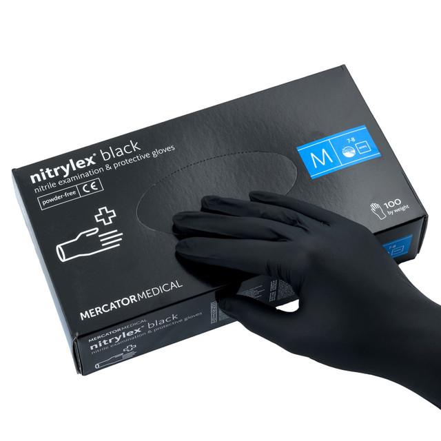 перчатки нитриловые черные размер М