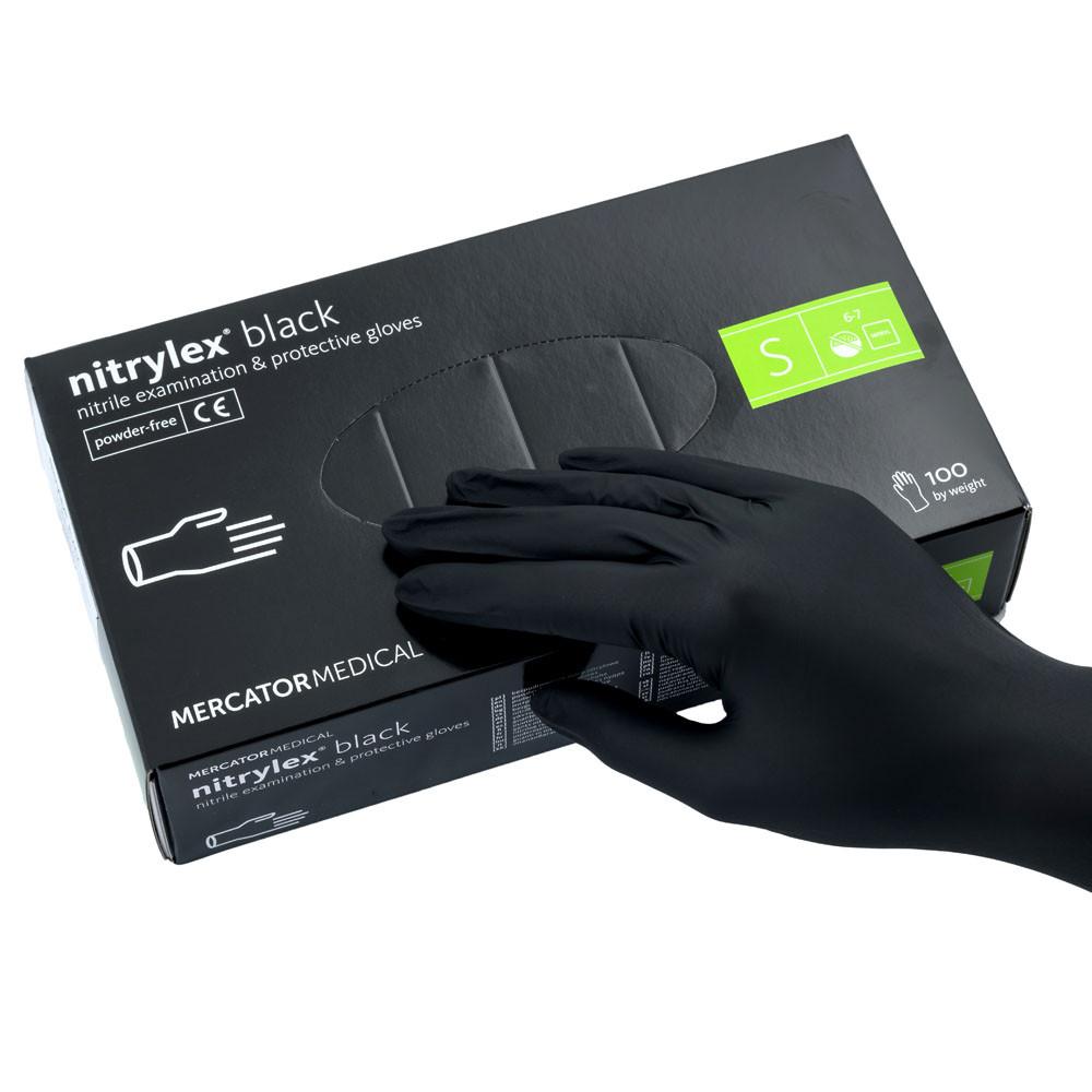 Перчатки нитриловые  S, Nitrylex Black, черные одноразовые неопудренные 100 шт.