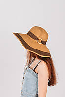 Шляпка широкополая Байс капучиново-шоколадная, фото 1