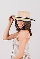 Шляпка канотье Трини бежевая, фото 1