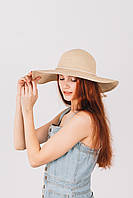 Шляпка широкополая Медея кремовая, фото 1