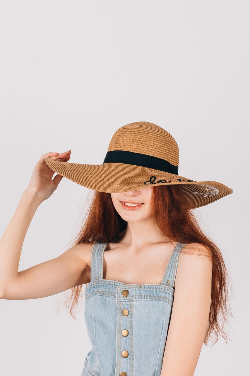 Шляпка широкополая Лукреция песочная