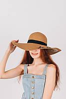 Шляпка широкополая Лукреция песочная , фото 1